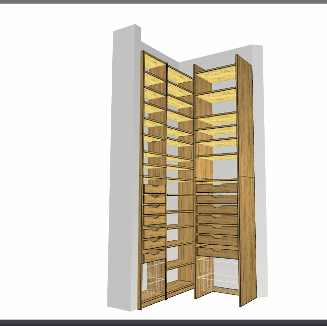 This is a design we created for a client with a smaller pantry. The key is to maximize space.