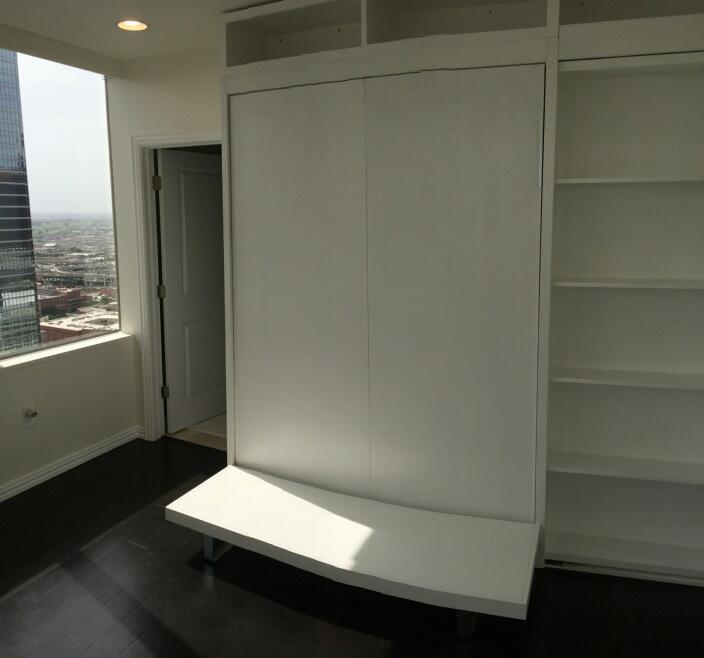 More Space Place Dallas custom panel bed bookshelf door