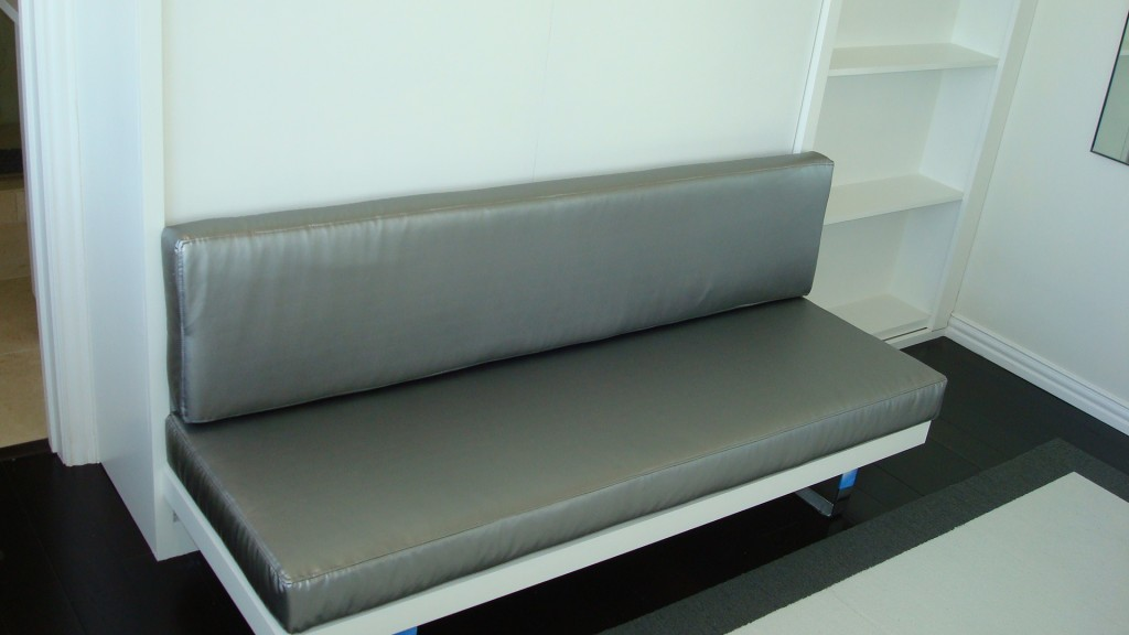 Custom designed sofa, part of the Chesterfield panel bed.