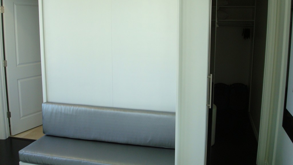 Bed is shown closed with a custom sofa. To the right is the hidden closet door, shown open.