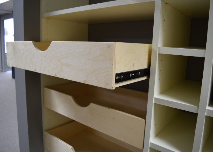 sliding scoop front drawers