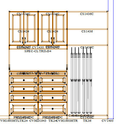 traditonal white custom closet cad drawing