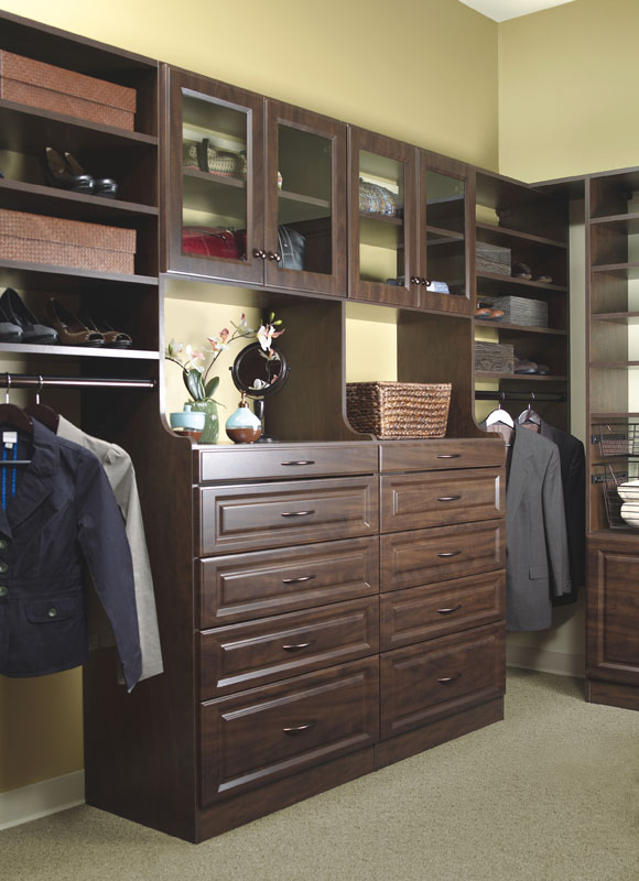 Hutch closet drawer stacks increase the depth of drawer boxes