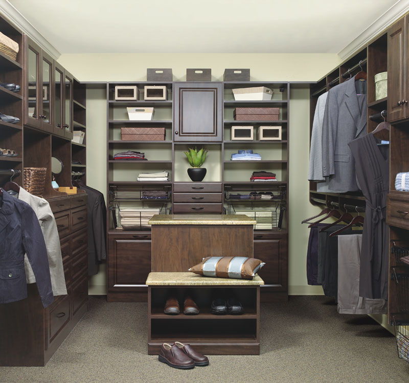 Closet island seating brings function in larger walk-in closets