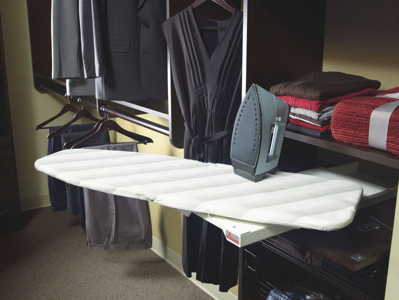 There are several ironing board products for closets