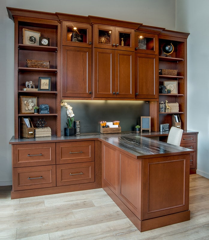 Home office with contemporary custom desk