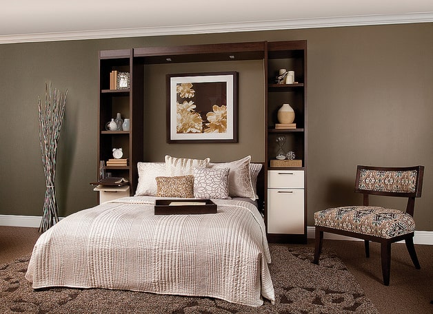 Manhattan wall bed with slide-out nightstands.